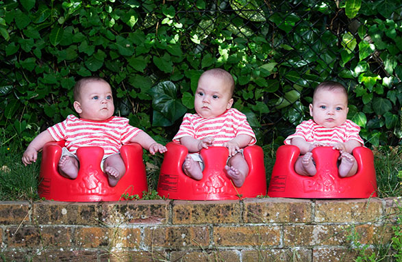 PIC BY MERCURY PRESS (PICTURED: Triplets Kuzay, Koray and Ayaz)  Meet the one in three MILLION triplets. Kuzey, Koray and Ayaz Cerikci are six-month-old naturally conceived triplets from Chelmsford, Essex. Twins Kuzey and Koray were diagnosed with the rare condition monochorionic monoamniotic, or 'mono-mono', which affects just one per cent of all twins. It means the twins share one amniotic sac and placenta.  SEE MERCURY COPY