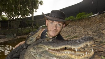 PIC FROM MERCURY PRESS (PICTURED - CHRIS GILLETTE GETS SERIOUSLY CLOSE TO THE CROCODILES AND ALLIGATORS)  Meet the snap happy couple who love nothing better than swimming with ALLIGATORS AND CROCODILES. Modern-day Tarzan and Jane Chris Gillette and his girlfriend Ashley Lawrence are world-leading experts on the dangerous reptiles. The pair met four years ago at the same wildlife park when Chris, 27, was working with alligators and Ashley, 28, with tigers. Now the really wild couple work together educating the public about wildlife and crocodiles and alligators. But Chris admits despite their knowledge there are still risks. SEE MERCURY COPY