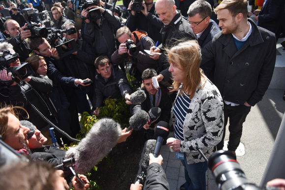 Hillsborough campaigner Margaret Aspinall speaks to press after the hearing